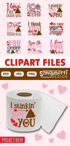 Funny toilet paper Valentine's Day lettering clipart graphics to digitize for embroidery or other projects. Or you can use some of them for humorous bathroom wall art as well. Bathroom Wall Art, Bathroom Humor, Toilet Paper Humor, Valentines Day Clipart, Love Ya, Embroidery Files, Gag Gifts, Love Letters, Planner Stickers