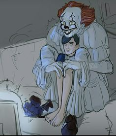 Pennywise with Billy watching TV Horror Movie Characters, Horror Movies, It The Clown Movie, Pennywise The Dancing Clown, Gay, Comic Drawing, Wattpad, Really Funny Memes, Cute Art