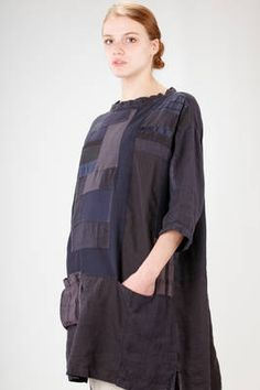 Sark Studio | knee length tunic in patchwork of vintage fabric of cotton, silk and linen | #sarkstudio