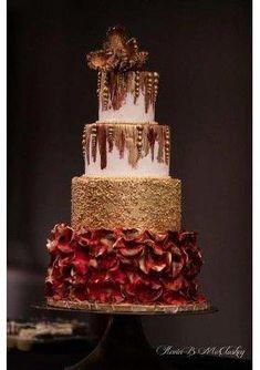 red and gold cake Amazing Wedding Cakes, Amazing Cakes, Cupcakes, Cupcake Cakes, Polymer Clay Cake, Quinceanera Cakes, Cake Decorating Tools, Decorating Ideas, Gold Cake