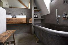 Badkamer betonstuc&hout  