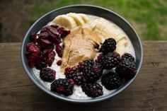 chia pudding with PB, blackberries, dried cranberries, and banana