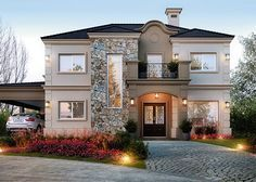 mediterranean homes exterior modern Dream House Exterior, Dream House Plans, House Front Design, Modern House Design, Suburban House, Mediterranean Homes, Tuscan Homes, Dream Home Design, Facade House