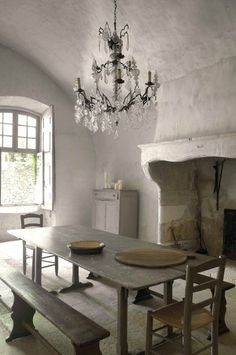 an old french farmhouse kitchen