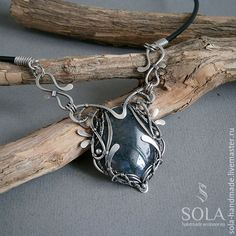Buy Silver necklace with moss agate on Livemaster online shop Wire Jewelry, Jewelry Art, Beaded Jewelry, Jewelery, Jewelry Design, Crystal Jewelry, Earrings Handmade, Handmade Jewelry, Handmade Wire