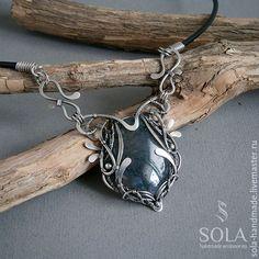 Купить Серебряное колье с моховым агатом - wire wrap, wire work, jewelry, accessories, handmade