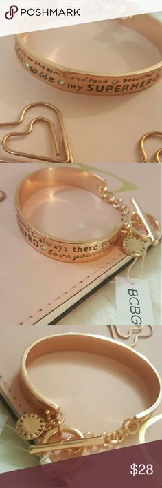 NWT* BCBG Bracelet* Stunning design * NWT* BCBG Bracelet* Stunning design and sayings* Gorgeous Arm Candy* Feel free to Inquire and ask Questions * Reasonable offers accepted * Bundle & Save * BCBGeneration Accessories