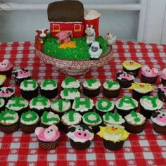 Barn cake and cow pig and chick cupcakes!!!