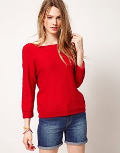 Red Button Up Back Sweater