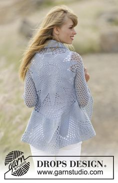 "Endless Love - Crochet DROPS jacket worked in a circle with double crochet and lace pattern in ""Cotton Merino"". Size S - XXXL. - Free pattern by DROPS Design"