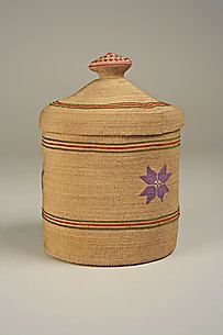 Lidded Basket late 19th Century or early 20th.  Coe Collection@ the MET        Date: late 19th–early 20th century Native American
