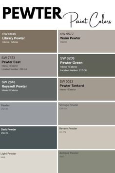 Curious about Pewter Paint Colors? Check out 12 amazing pewter colored paint by Benjamin Moore and Sherwin Williams. #paintcolors #pewter #interiordesign #homeinspo Greige Paint Colors, Office Paint Colors, Neutral Paint Colors, Interior Paint Colors, Warm Colors, Benjamin Moore Paint, Pewter Paint, Pewter Color