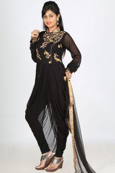 Black Viscose Georgette Embroidered Party Dhoti Style Churidar Kameez Sku Code:12-3410SL229982 $ 161.00