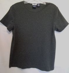 BASIC EDITIONS Gray Top Size Medium Classic Fit 100% Cotton Scoop Neck #BasicEditions #KnitTop #Career