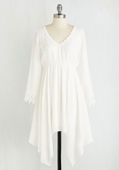 Wisp Reminds Me Dress - White, Solid, Crochet, Trim, Casual, Boho, Festival, Empire, 3/4 Sleeve, Spring, Woven, Short, V Neck, Top Rated