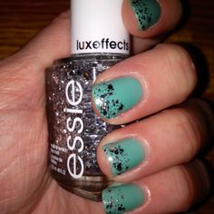 "Essie ""turquoise and caicos"" with Essie ""set in stones"" luxeffects for tips."