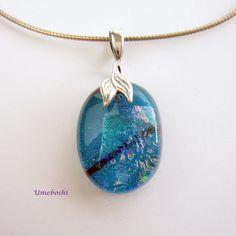 Caribbean Blue Handmade Dichroic Glass Cabochon by 2GlassThumbs