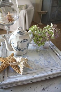 Coastal Cottage Tray - darling teapot; where are the cups?