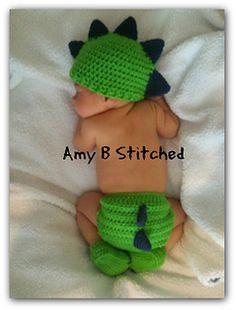 Free from Ravely-Dinosaur Hat & Diaper Cover, Crocheted