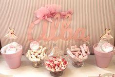 Mesa dulce para comunión de niña con temática de ballet - Ballet-themed sweet table for a girl party