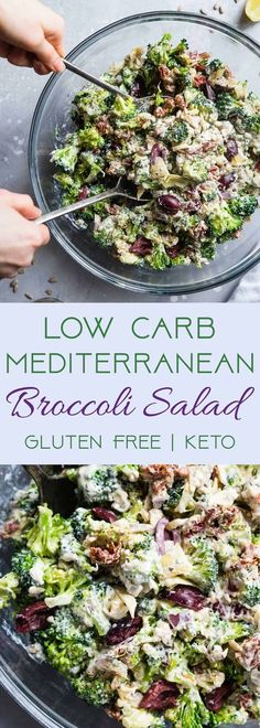 Low Carb Mediterranean Broccoli Salad - This Low Carb Broccoli Salad, with a Greek twist, is a super easy, healthy and protein packed side dish for dinner or a potluck! It's made with Greek yogurt and you won't even miss the mayo! | #Foodfaithfitness | #L
