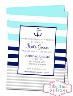 Nautical Baby Shower Invitation - Colorblock Stripes with Anchor- aqua, navy, gray- Digital File by LillyMaeDesigns on Etsy https://www.etsy.com/listing/193248444/nautical-baby-shower-invitation