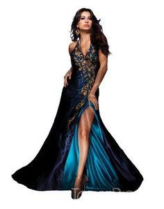 Full view of fancy peacock dress, $400ish