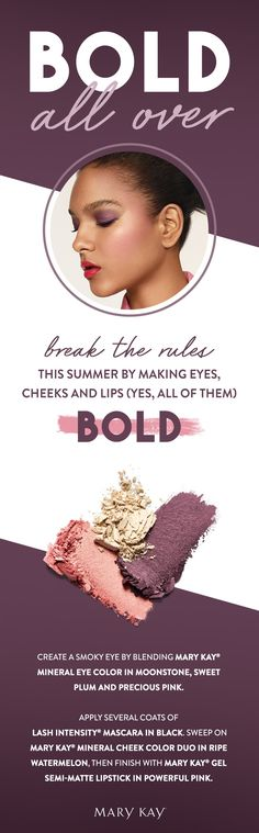"""A summer makeup look that goes for bold! Tip from makeup artist Sam Addington: Give the illusion of contouring with """"nontouring"""" by applying Mary Kay® Mineral Cheek Color Duo in Ripe Watermelon to cheekbones and sweeping upward in a C-shape."""