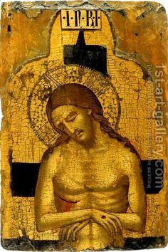 Imago pietatis - Krist s pet svetih rana (ostentatio vulnerum), golog torza i glavom nagnutom u stranu, nastaje iz 8. st.