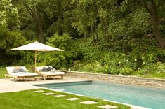Rectangle Pool, Pool Wall Swimming Pool Patricia A. Benner Landscape Design Los Angeles, CA