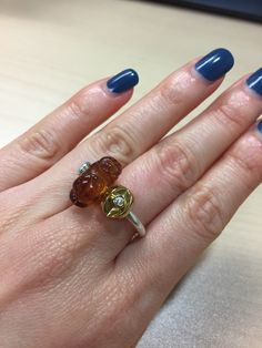 Trollbeads Ring of change with Amber & Yes bead