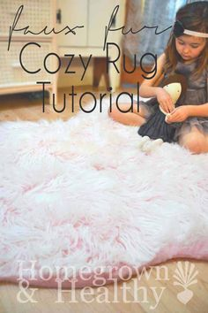 """Probably my favorite DIY ever. Using Faux Fur to create a super cute and cozy """"bearskin"""" rug!"""