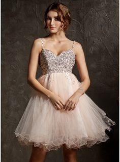 Empire Sweetheart Knee-Length Tulle Homecoming Dress With Beading Sequins (022008941) - JJsHouse