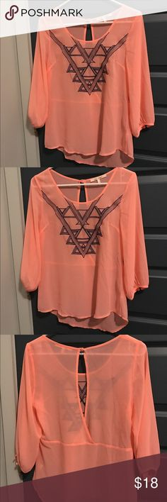 Francesca's Sheer Top Pink sheer top with blue detail! Worn once, in perfect condition. Francesca's Collections Tops