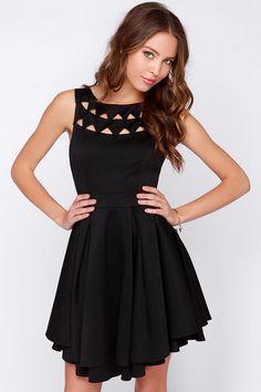 Cutout Triangles Black Dress