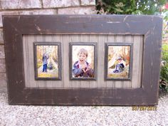 Triple 4x6 Distressed Picture Frame Asphaltum / by ShirleyFrames, $150.00