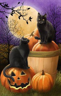 Midnight Rendezvous by Thomas Wood ~ Halloween ~ black cats ~ Jack-o-Lantern ~ harvest moon