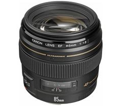 CANON  EF 85 mm f/1.8 USM Standard Prime Lens Price: £ 349.00 The Canon EF 85 mm f/1.8 USM Lens is a number one choice for portrait photographers, with a wide aperture and versatile focal length. Capture beautiful people shots If you're an avid portrait or people photographer, you'll love the combination of a short telephoto 85 mm focal length, large f/1.8 maximum aperture and rapid autofocus...