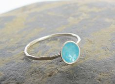 Sterling silver ring with turquoise blue by SilverJewelleryHS, £30.00