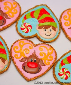 Holiday cookies.  Elf and reindeer using heart cutter