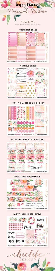 Happy Planner – Floral Sticker Printable – Chic Life Design