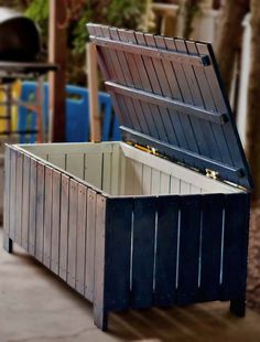 Outdoor storage bench made from pallets.
