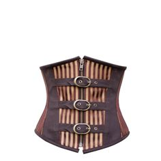 Brown Gold Striped Buckles Underbust