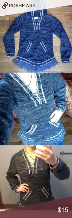 Grey fringe sweater The tag looks like it says large, but I'm listing this as a small because it fits me almost perfectly and I'm an xs. Nice soft and casual sweater. Great with jeans and booties. Signature Imports Sweaters