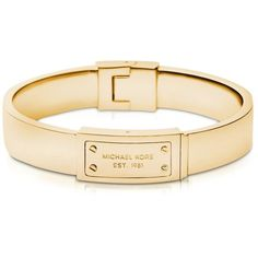 Michael Kors Heritage Signature Metal Bangle ($125) ❤ liked on Polyvore featuring jewelry, bracelets, gold, michael kors bangle, bangle jewelry, stackable bangles, stackers jewelry and metal jewelry