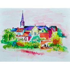 Titre : Montreuil le Gast en artifices - de Chenel,  Encre acrylique aquarellable,  Format : 65 x 50 cm