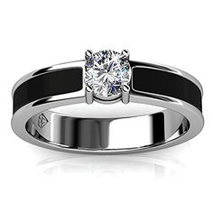 Fappac Rhodium Plated and Black Enamel Single Stone Crystal from Swarovski Ring Band - 8 >>> Click on the image for additional details.
