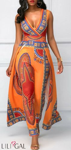 Rosewe Women Jumpsuit Orange African Print V Neck Overlay Sleeveless V Neck Overlay Embellished Dashiki Print Orange Jumpsuit African Fashion Designers, African Men Fashion, Africa Fashion, Womens Fashion, African Women, Ladies Fashion, African Attire, African Wear, African Dress