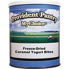 Caramel Yogurt Bites. Share a delicious treat and the message of preparedness with family and friends. You can eat them right from the can, or reconstitute for the consistency of fresh yogurt. $9.95