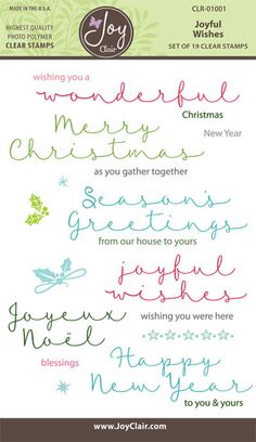 Joyful Wishes Christmas Clear Stamps by Joy Clair